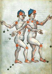 An image of Gemini, as depicted in a 15th century edition of a book by the Persian astronomer Abd al-Rahman al-Sufi. Credit Forschungbibliothek Gotha