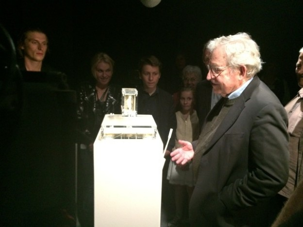 During the opening at ZKM Karlsruhe, Germany on 30th May 2014, Noam Chomsky was the first person to speak to the ear. To the left Lieuwe van Gogh.