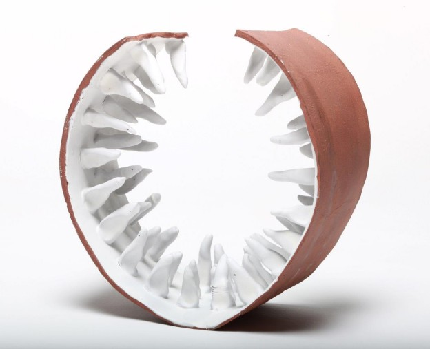 Hans Borgonjon: Jaws Internal porcelain and REW- 25 cm dia