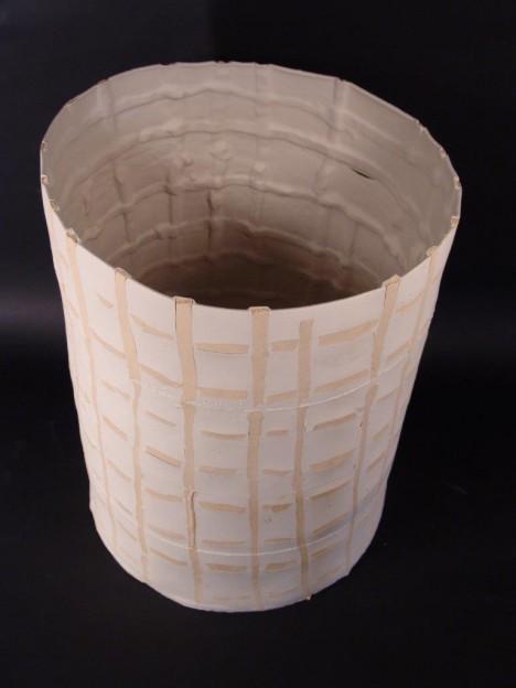 Hans Borgonjon: 'Structured Qualia' semi-porcelain and rew, 50 cm dia- 80 cm H, 2010