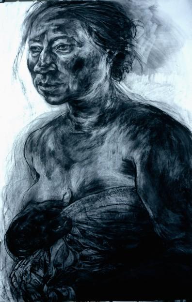 Anita Taylor: Divulge, chrcoal on paper