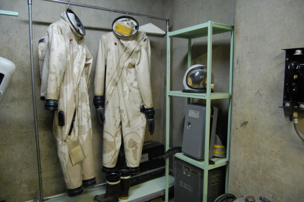 Patched hazmat suits at the Titan Missile Museum. © Eve Andrée Laramée