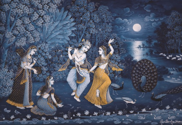 Fig 5: Reva Shankar Sharma - Radha Krishna Dancing In Moonlight, Pigments And Gold Leaf On Paper | 22 x 30 cm | C 2000'S