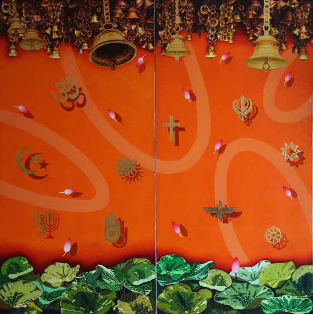 Fig 4: Charan Sharma- Sarv Dharam Sambhav, 180x180cm, mixed media on canvas, 2013