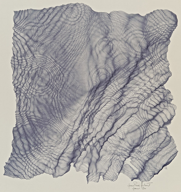 """Olive Bark"", 1990, Ink on paper - pen plotter drawing of one single continuous line, 34cm x 33cm"