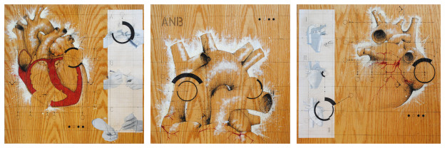 ANATOMICAL NO-BODY : HEART - TRIPTYCH Mixed media on wood 2' x 2' each 2012 - 2013  (© Federico Carbajal)