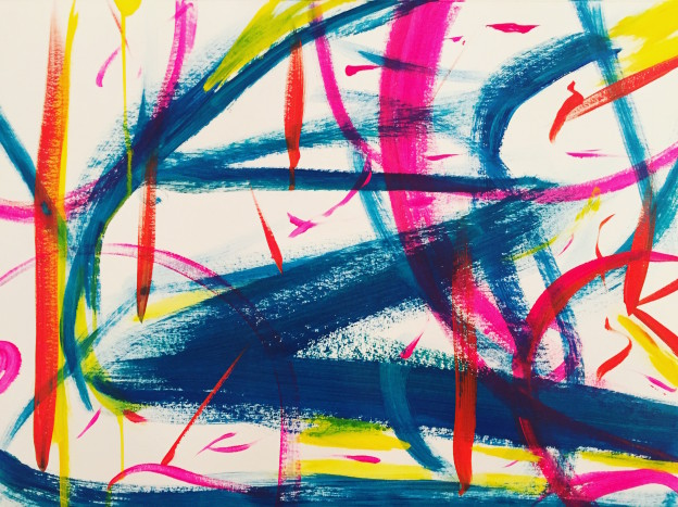 My dancing mind. acrylic on paper, 42 x 59 cm Lynne Cameron, 2016