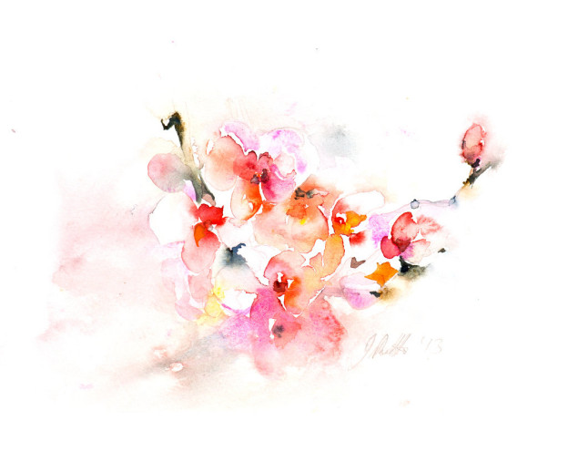 Watercolour study, made many years earlier which inspired Disrupted Orchid