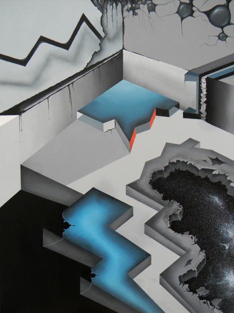 """Steve Sangapore: The Room. 48"""" x 36"""" x 2"""". Acrylic on canvas. 2013"""
