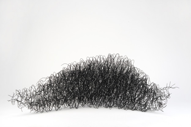 "Julia Buntaine: Alpha Wave(s). 2014. 4'x8""x2'. Rebar wire. Photo courtesy of Peters Projects Gallery."