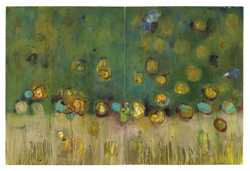 """Bonnie Cutts: Clusters, 2014, 40"""" x 60"""", Acrylic materials on canvas (photo credit: Ed Bock)"""