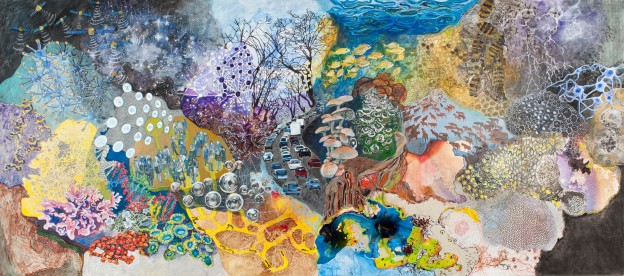 Richelle Gribble: Overview. Acrylic, chalk, ink, lava gel, rubber bands on panel, 96 x 216 inches, 2015