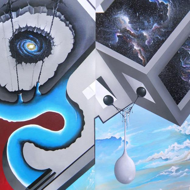 "Steve Sangapore: Omneity. 40"" x 14"" x 7"". Acrylic on triangular canvas. 2015 (detail)"