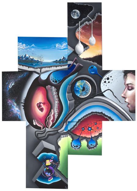 "Steve Sangapore: Virtuality, 44"" x 32"" x 2"", Acrylic on 6 angled canvases, 2015"