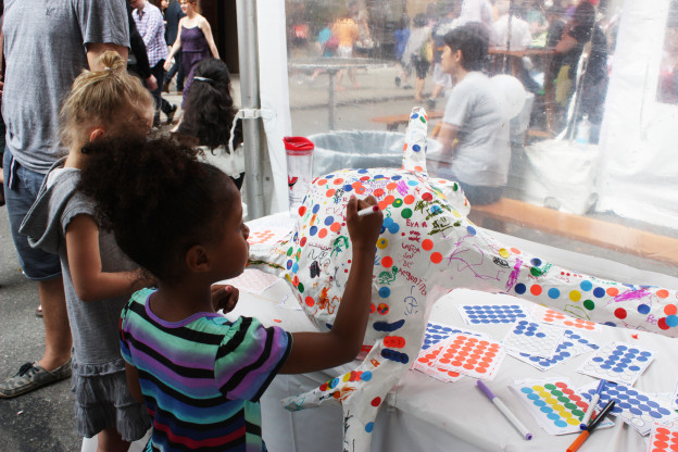 "Image from ""Neuron Art"" workshop at the 2015 World Science Festival at Washington Square Park, NYC, in which the public created collaborative science-art works while learning about the structure and function of neurons"