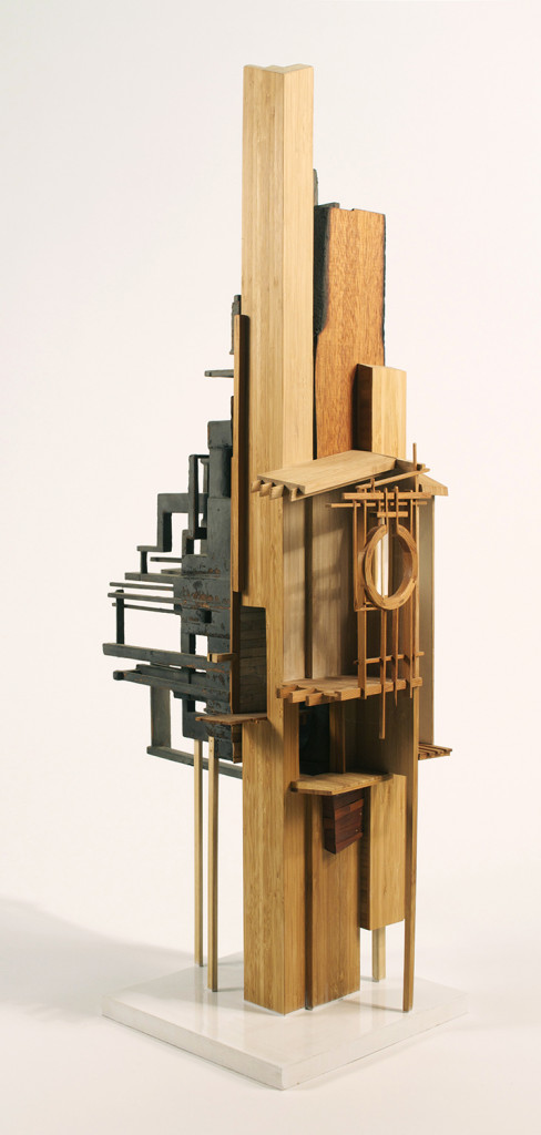 Megan McGlynn: EXAPTATION burnt mahogany, bamboo, cedar, copper, brass 36 x 18 x 10 in.