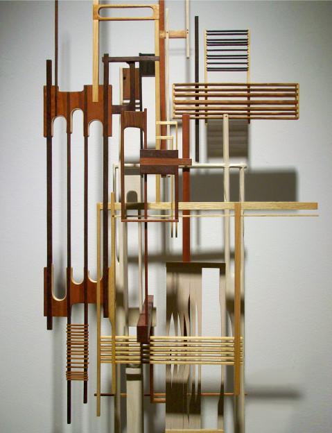Megan McGlynn: NEURAL NETWORK domestic and exotic woods, brass, copper 76 x 18 x 12