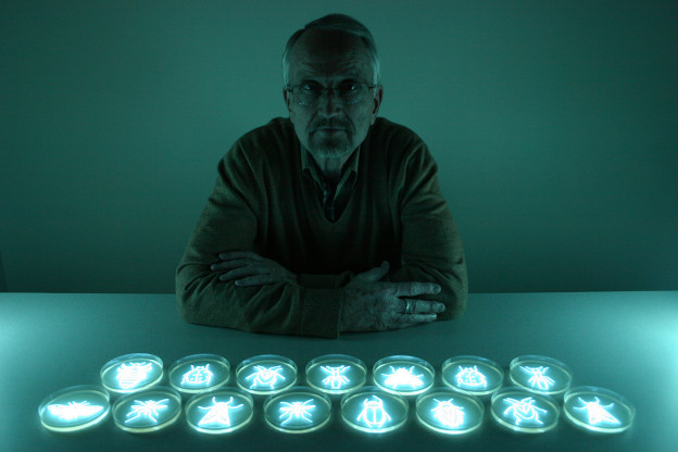 """The Entomologist I: Portrait of Bob Hamilton,"" photograph by the light of bioluminescent bacteria, Hunter Cole."