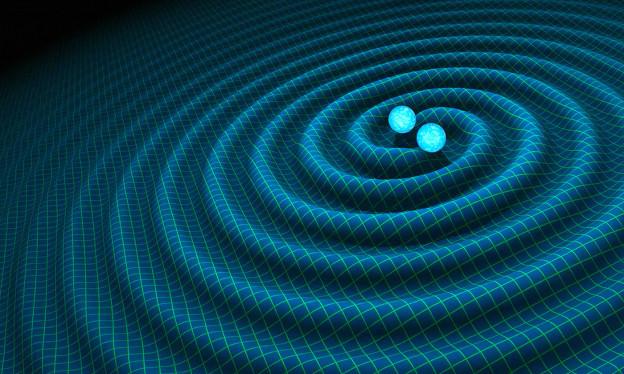 An artist's impression of gravitational waves generated by binary neutron stars. R. Hurt/Caltech-JPL