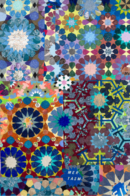 Joyce Kozloff, If I Were an Astronomer (Tasman), 2014, Mixed media on canvas, 72 x 54 inches (detail)