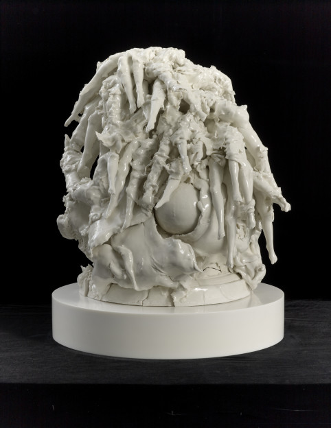 Rachel Kneebone: Driving the blind excess of life to the very edge of death, 2014 Porcelain 26 3/4 x 21 7/8 x 22 5/8 in. (68 x 55.5 x 57.5 cm) © Rachel Kneebone. Photo © White Cube (Prudence Cuming Associates Ltd)