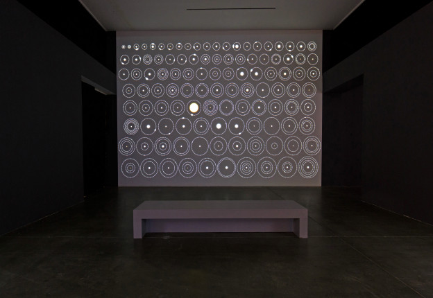 Jonathan Corum Kepler's Talley of Planets, 2013-16; Digital motion graphic 17 x 20ft projection, dimensions variable Courtesy of The New York Times Photo: Juan Posada/ArtCenter