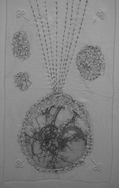 "Robyn Ellenbogen: Human Stain - hand stitching, digital print, markers, 19"" x 12"", 2017, silk organza, vintage fabric"