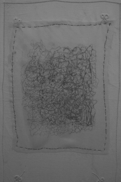 "Robyn Ellenbogen: Tainted Love - hand stitching, digital print, markers, 19"" x 12"", 2017, silk organza, vintage fabric"