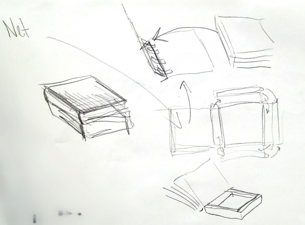 Fig.2 A thumbnail rough of a book and net