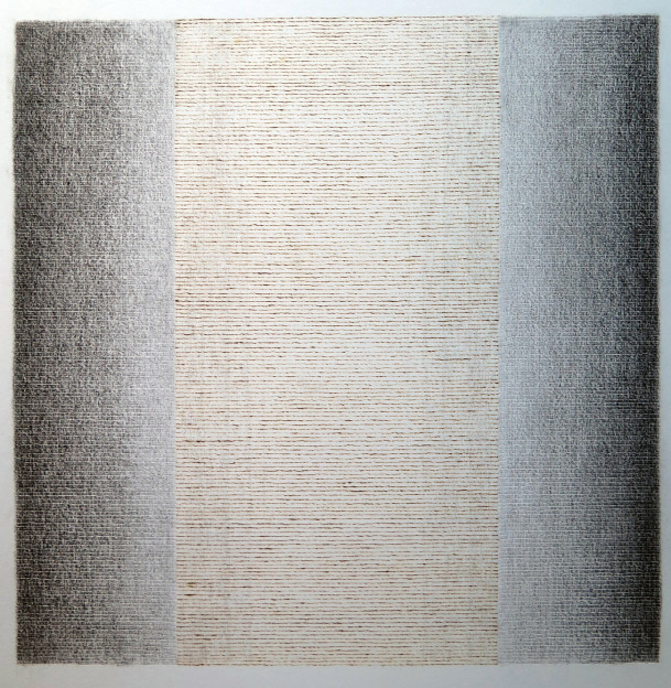 Julia Hutton: Burning Light IV, The Shortening Day, burnt line on paper, 30 x 30 cm