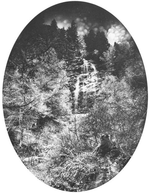 Anouk Mercier: Route des Lindarets – Une Cascade, (50 x 60 cm), Graphite on Paper, 2015