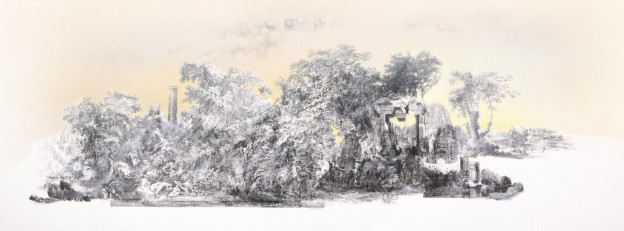 Anouk Mercier: Adeachus' Gate, (102 x 39.5 cm), Airbrushed Inks, Acetone Transfer, Colour Pencil and Graphite on Paper, 201