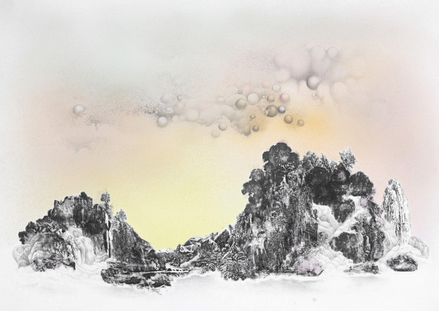 Anouk Mercier: Warm Glow, Burning Through the Clouds, (38 x 27.5cm), Acetone Transfer, Airbrushed Inks, Colour Pencil and Graphite on Paper, 2014