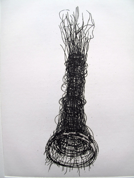 Julia Hutton: Threaded Form I, limited edition etching, 15 x20 cm