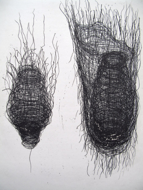 Julia Hutton: Threaded Form II, limited edition etching, 15 x 20 cm