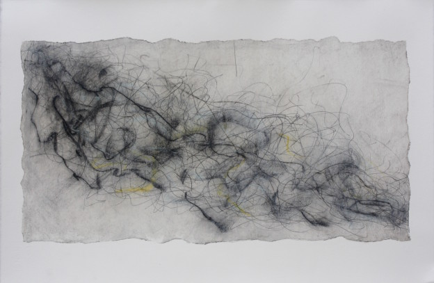 Fiona Robinson: Debussy La Mer # 1. Graphite charcoal and mixed media. 40 x 60 cms