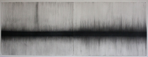 Fiona Robinson The Unfolding. Charcoal 101 x 274 cms