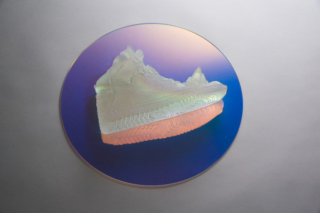 Jasmine Targett: My Nike will live longer than me  2017 Glass Crystal, Dichroic Lens  Installation size – L400 W400 H120 mm. Glass – L290  W190  H110 mm