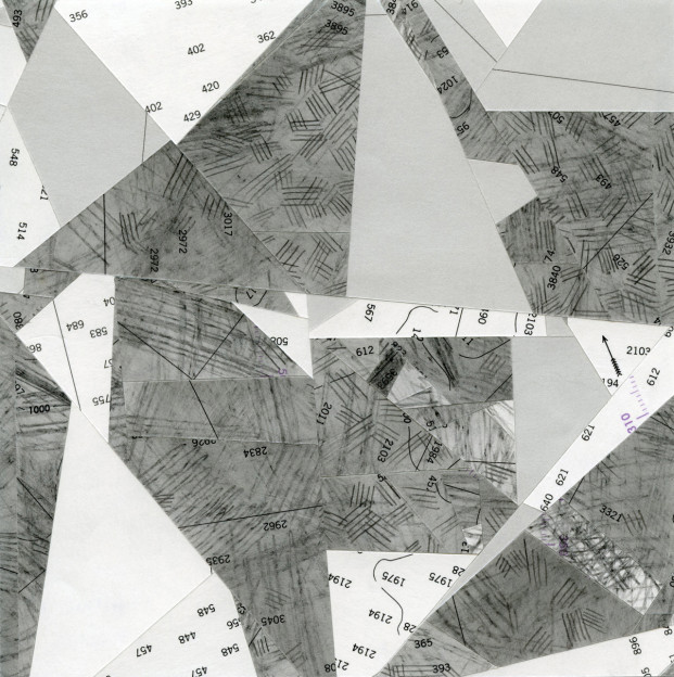 "Compression 3, graphite on cut and seamed nautical charts, 6"" x 6"", 2016"