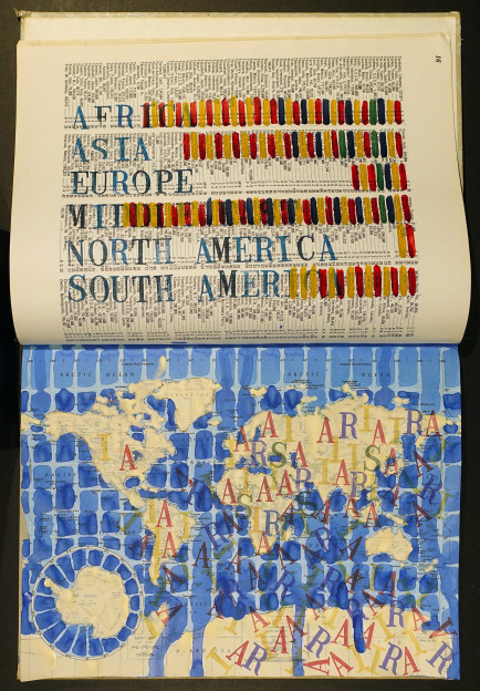 AIRS by Continent (Asylum, IDP, Refugees, Stateless) Book 12, 2017, ink, watercolor, gouache, and lacquer on atlas, 19 x 12 1/2 x 2 1/4 inches
