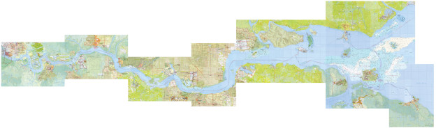The Thames (from London Bridge, Arizona to Sheerness, Canada), 2013, collaged maps (in 10 parts)