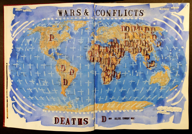 Wars and Conflicts Killed by Continent, Book 02, 2017, ink, watercolor, and gouache on atlas, 15 1/4 x 22 1/2 x 2 inches