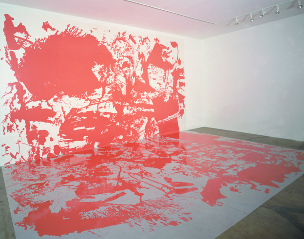 """""""b-b-b, g R-UF!, b-b-b"""",  enamel paint  on trace Mylar, 884 cm x 762 cm, 1999"""