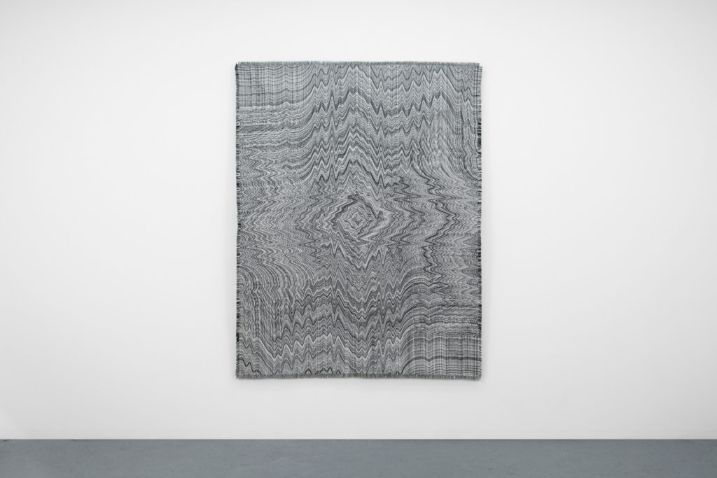 "Embodied Objects (Undo), 2016, computerized jacquard loom woven cotton tapestry, approx. 70""H x 53""W"