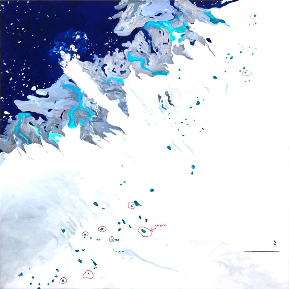 """Data: Ilulissat III 50""""x 50"""" Oil on Canvas 2016"""