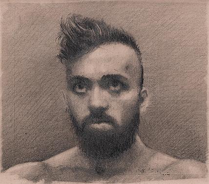 Portrait of John (2017), pencil on found paper 9.5 x 8.5cm