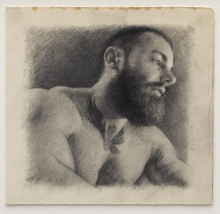 Portrait of Kane (2017), pencil on found paper 16 x 16cm
