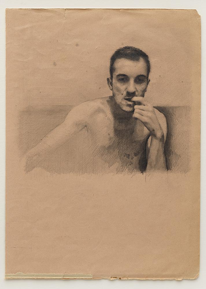 Portrait of Lex (2017), pencil on found paper 17.5 x 24cm